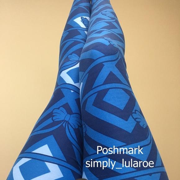 62adf3588b5c4 LuLaRoe Pants   Tc Blue Bows Leggings   Poshmark